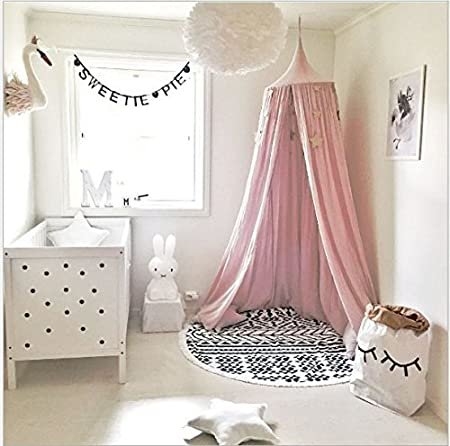 Children Bed Canopy Round Dome Mosquito Net for Kids Baby Crib, Princess Cotton Canvas Round Dome Kids Indoor Outdoor Castle Play Tent Hanging House 240cm / 94.9 inch (pink) Hrtc