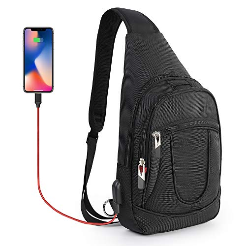 (CrossGear Sling Backpack with USB Charging Port, Polyester Travel Daypack Durable Chest Shoulder Unbalance Gym Fanny Crossbody Outdoor Hiking Bag for Travel Workout CR-8003BK)