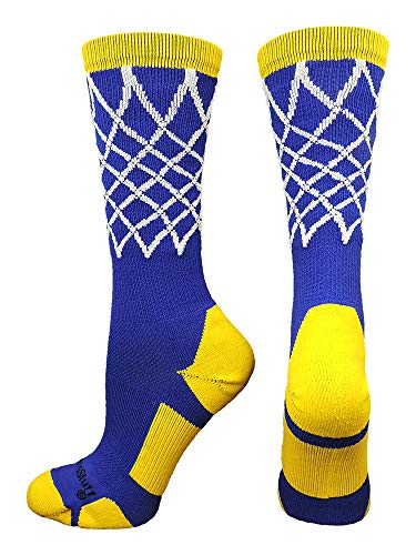 MadSportsStuff Crew Length Elite Basketball Socks with Net (Royal/Gold, Small)