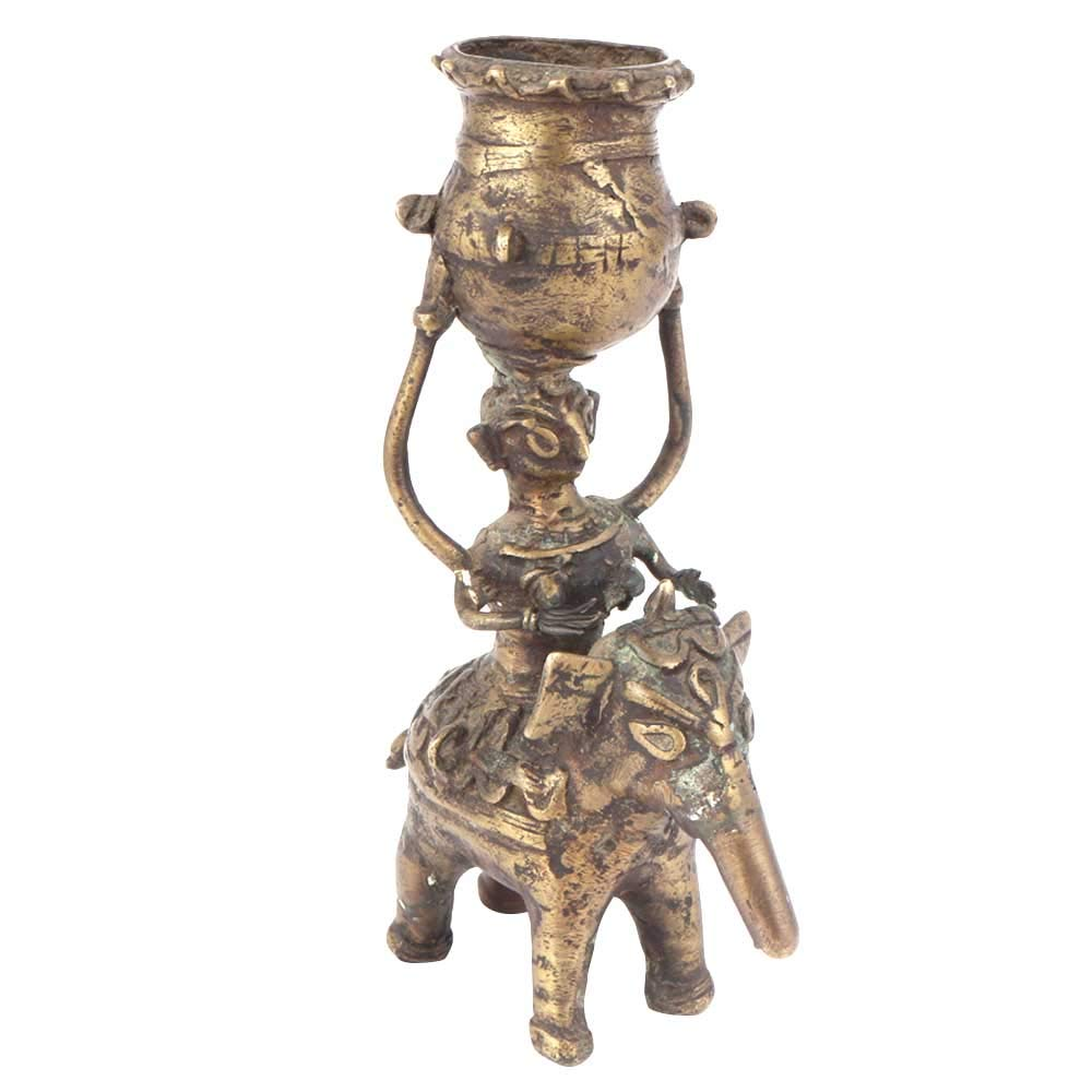 Indian Shelf Handmade Antique Gold Brass Figurine of Elephant Rider Candle Holder Puja/Home/Christmas/Diwali Décoration-1 Piece