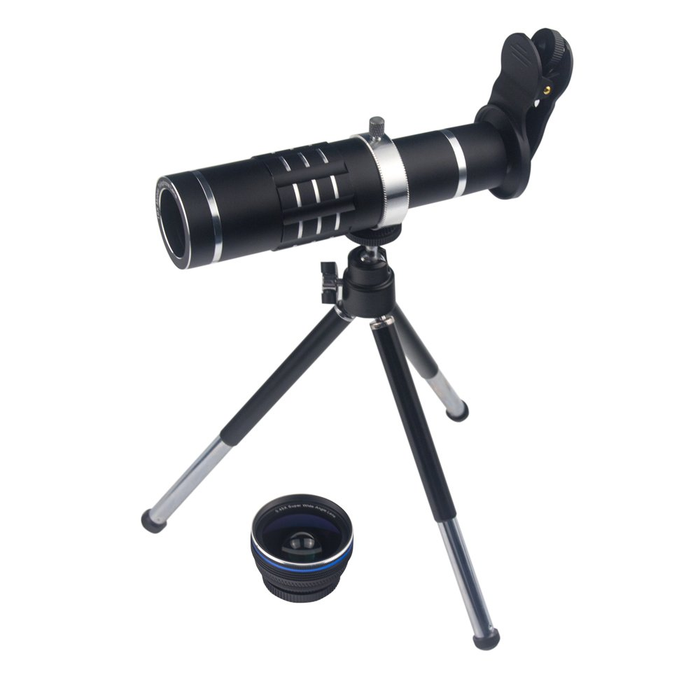 3 in 1 Smart Phone Lenses Kit 18X Telephoto Lens Wide Angle Lens Macro Lens with Tripod and Universal Clip for iPhone Samsung Most Smartphones (Black)