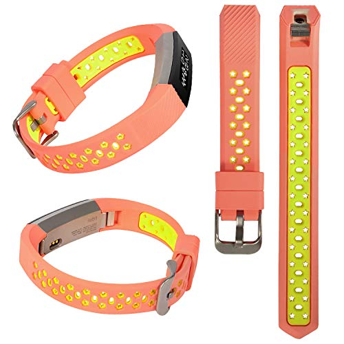 Lwsengme Silicone Strap Compatible with Fitbit Alta/Fitbit Alta HR Wrist Replacement Band Smart Watch Fitness Strap Accessory (Pink/Fluorescent Yellow)