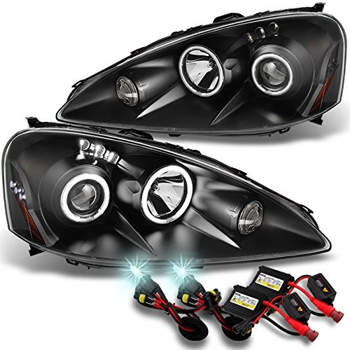 For 2005 2006 Acura RSX Integra DC5 Black Dual Halo Projector DRL LED Headlights + 8000K HID ()