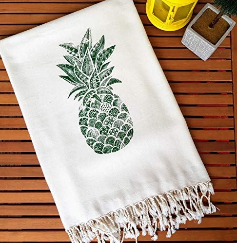 Lightweight Bamboo Beach Towel, Highly Soft, Natural Dyed Printed, Turkish Towel Peshtemal, Perfect for Beach, Bath, Pool, Spa, Yoga, Camping, Fitness, Travel, Baby Care ( 60x35 inches) (Pineapple) (Bamboo Travel Towel)