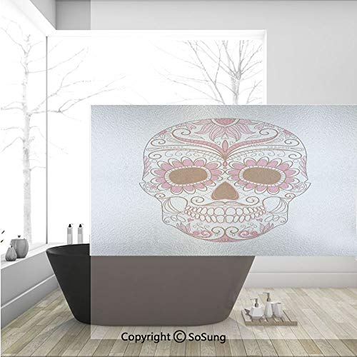 - 3D Decorative Privacy Window Films,Mexican Ornaments Calavera Catrina Inspired Folk Art Macabre Decorative,No-Glue Self Static Cling Glass Film for Home Bedroom Bathroom Kitchen Office 36x24 Inch