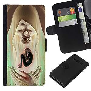 Be-Star la tarjeta de Crédito Slots PU Funda de cuero Monedero caso cubierta de piel Para Samsung Galaxy A3 ( Saint Skull Death Green Brown Man )