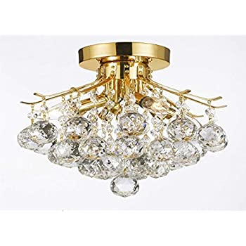 Gold finish crystal chandelier with 4 lights lighting amazon gold finish crystal chandelier with 4 lights lighting aloadofball Image collections