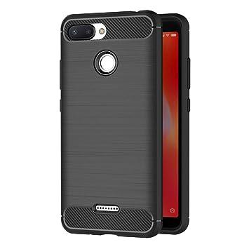 AICEK Funda Xiaomi Redmi 6, Negro Silicona Fundas para Xiaomi Redmi 6 Carcasa Redmi 6 Fibra de Carbono Funda Case (5,45 Pulgadas)