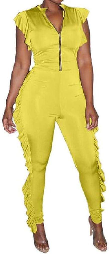 VITryst-Women Waveselvedge Skinny Elegant Solid Color Zipper Jumpsuit Romper