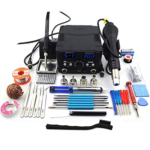 Top digital soldering station with hot air