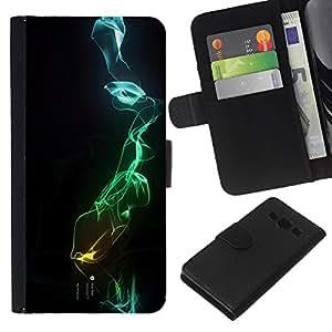 WINCASE Cuadro Funda Voltear Cuero Ranura Tarjetas TPU Carcasas Protectora Cover Case Para Samsung Galaxy A3 - negro oscuro abstracto azul verde