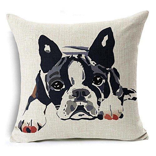 ISEAREX Animal Cushion Cover Boston Terrier Dog Decorative Cushion Covers Bulldog Throw Pillow Car Chair Home Decor Pillow Case For Sofa 18x18 Inches ()