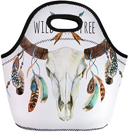 (Vontuxe Insulated Lunch Tote Bag Cow Skull Animal Feathers Buffalo Wild and Free Watercolor Outdoor Picnic Food Handbag Lunch Box for Men Women Children)