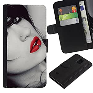 Samsung Galaxy S5 Mini / SM-G800 (Not For S5!!!) , la tarjeta de Crédito Slots PU Funda de cuero Monedero caso cubierta de piel ( Lips Sensual Woman Lady Girl Sexy Red Gaze)
