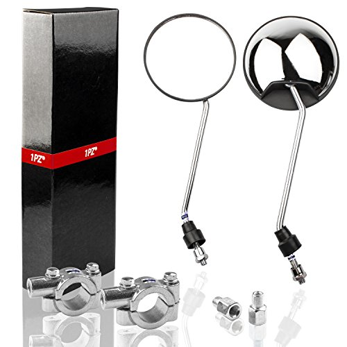 """1PZ RM8-CH1 Adjustable Universal M8x1.0 Antenna Style Retro Vintage Round Mirrors with 7/8"""" 22mm clamps for Motorcycle Go-Kart ATV Scooter Dirt-bike Mini-bike Moped Quad Wheeler (CHROME)"""