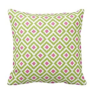 Green and Pink Diamond Geometric Design Pillowcase Covers Decorative for Sofa 18x18 Inch Two Sides