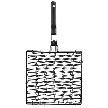 MR. BAR-B-Q 06620X Non Stick Flexible Basket with Folding Handle, Black