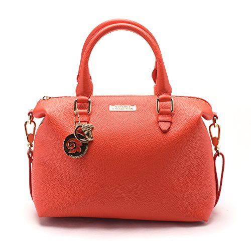 Versace-Collections-Women-Pebbled-Leather-Top-Handle-Shoulder-Handbag-Satchel-Red