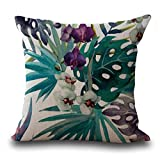 Software : Kimloog Vintage Floral Tropical Leaves Waist Throw Pillow Case Car Home Sofa Decorative Cushion Cover (D)