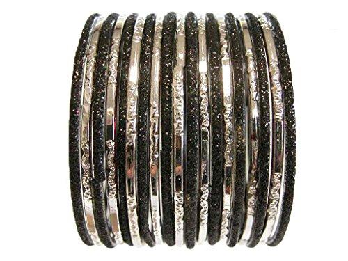 [Black Silver Indian Fashion Glass Bangles Costume Jewelry Bracelet 2.10 ML] (Ethnic Dance Costume)