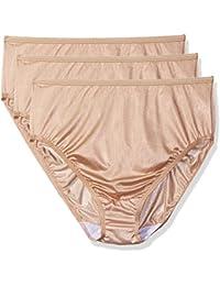 Women's Plus Size Panties-Hi Cut Nylon Brief (3 Pack)