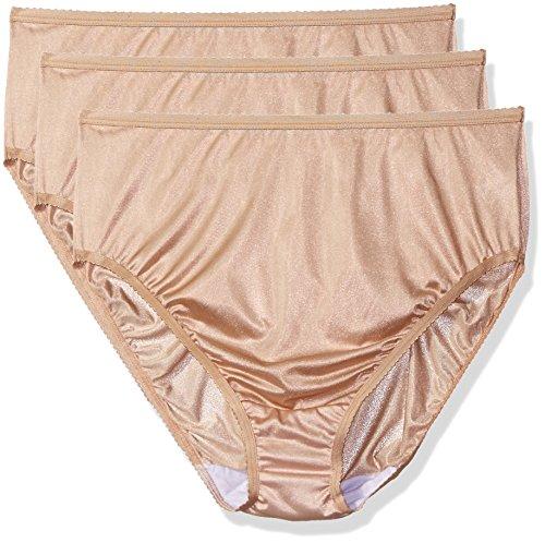 Shadowline Women's Plus Size Panties-Hi Cut Nylon Brief (3 Pack), Nude, 11