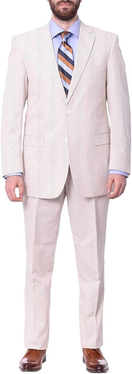 Emigre Classic Fit Tan Pinstriped Two Button Cotton Seersucker Suit