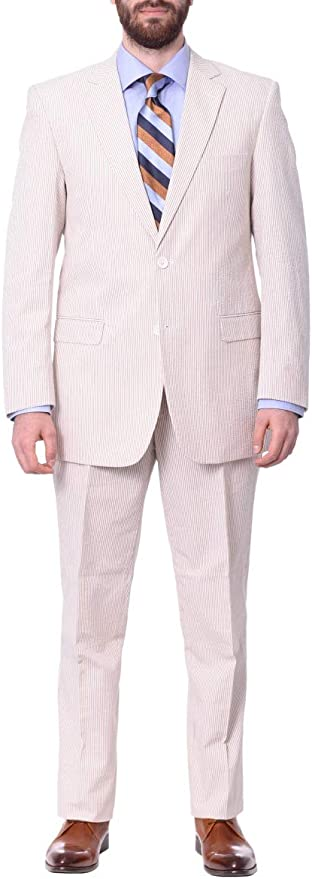 Emigre Classic Fit Tan Pinstriped Suit