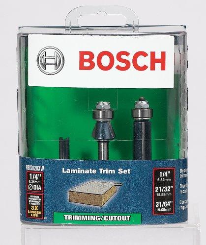 Bosch RBS020XW 3 Piece 1/4-Inch Shank Laminate Trim Router B