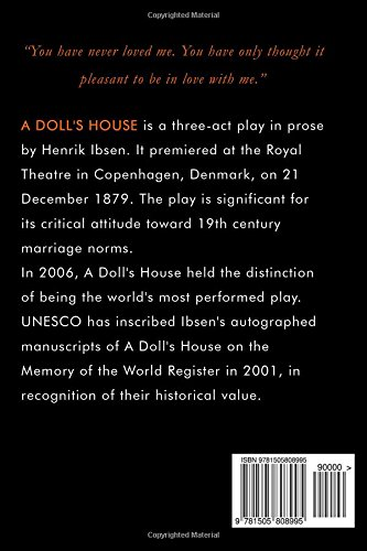 a description of a dolls house by henrik ibsen on being ahead of time Use our free chapter-by-chapter summary and analysis of a doll's house it helps  middle and high school students understand henrik ibsen's literary masterpiece   about the fact that nora is a woman it's about the fact that she's a human being   yup: our henrik was way ahead of his time, in terms of both his style (yay,.