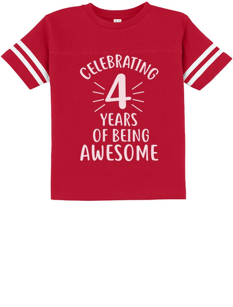 4 Years of Being Awesome! Birthday Gift for 4 Year Old Toddler Jersey T-Shirt 4T Red
