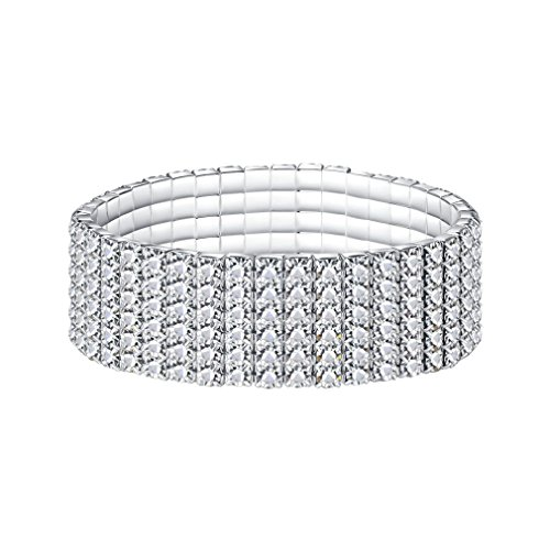 (YIYIPRINCESS Rhinestone Crystal Stretch Bling Bracelet Sparkle Wedding Jewelry 1 to 6 Row for Choose (6)