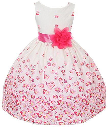 100% Cotton Floral Spring Easter Flower Girl Dress in Fuchsia Daisy - 4