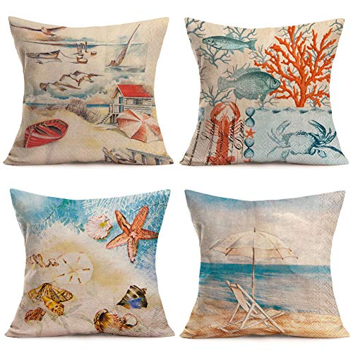 Fukeen Set of 4 Summer Beach Throw Pillow Cases Marine Animal Fish Starfish Crab Pattern Cushion Cover Cotton Linen Ocean Sea Theme Home Couch Decor Standard Pillowcase 18x18 Inch