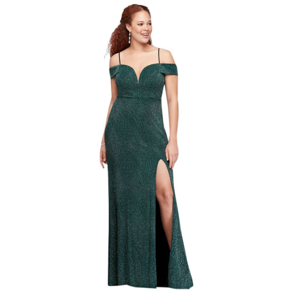 8079539073c David s Bridal Deep V-Neck Cold Shoulder Glitter Plus Size Gown Style  1499HN3W at Amazon Women s Clothing store