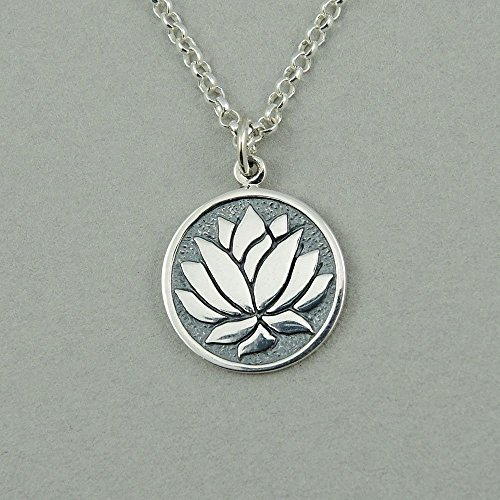 Coin Lotus - Sterling Silver Lotus Flower Coin Necklace
