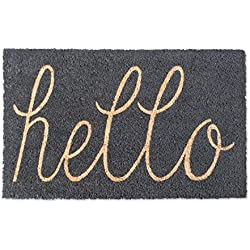 "DII Indoor/Outdoor Natural Coir Easy Clean Rubber Non Slip Backing Entry Way Doormat For Patio, Front Door, All Weather Exterior Doors, 18 x 30"" - Gray Hello"