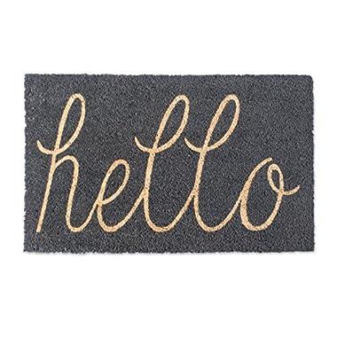 DII Indoor/Outdoor Natural Coir Easy Clean Rubber Back Entry Way Doormat For Patio, Front Door, All Weather Exterior Doors, 18 x 30  - Gray Hello