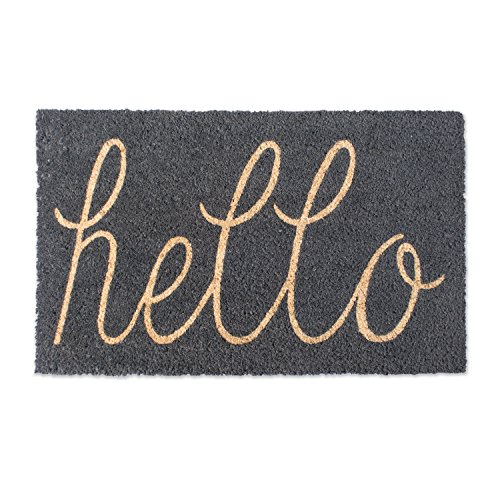 DII Natural Coir Fiber, 18x30 Entry Way Outdoor Door Mat with Non Slip Backing-Hello Gray, 18 x 30