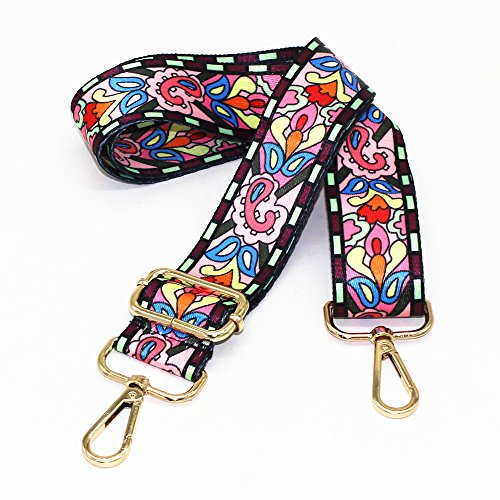 M-W 1.5 Wide 28-50 Adjustable Length Handbag Purse Strap Guitar Style Multicolor Canvas Replacement Strap Crossbody Strap, with 2Pcs Metal Buckles (style7)