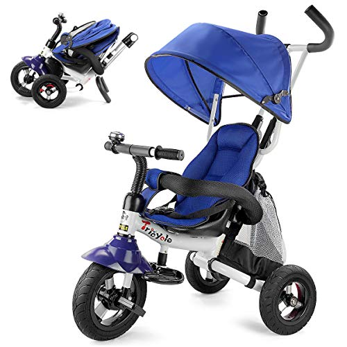 Infant Tricycle - Costzon Baby Tricycle, 6-in-1 Foldable Steer Stroller, Learning Bike w/Detachable Guardrail, Adjustable Canopy, Safety Harness, Folding Pedal, Storage Bag, Brake, Shock Absorption Design, Blue