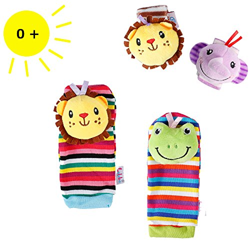 Finder Bell (Sue's 4PCS Baby Wrists Rattle and Foot Finders Socks Set Infant Developmental Soft Animal Toy Gift - Elephant and Lion)