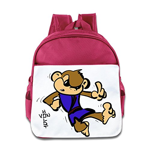 - XJBD Custom Funny Cartoon Wook Fall Down Children School Bagpack For 1-6 Years Old Pink