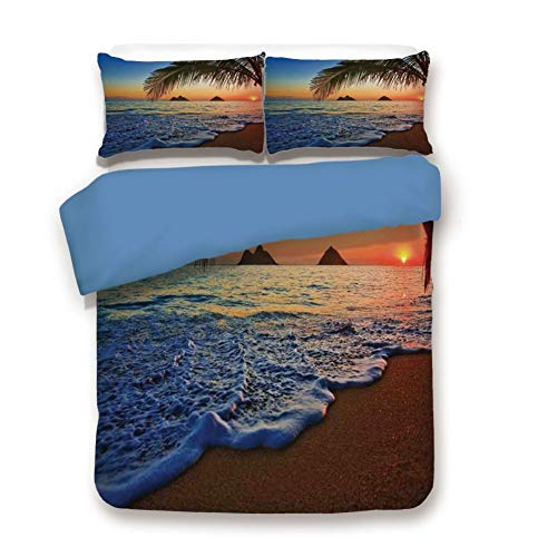 - Duvet Cover Set Queen Size, Decorative 3 Piece Bedding Set with 2 Pillow Shams, Pacific Sunrise at Lanikai Beach Hawaii Colorful Sky Wavy Ocean Surface Scene