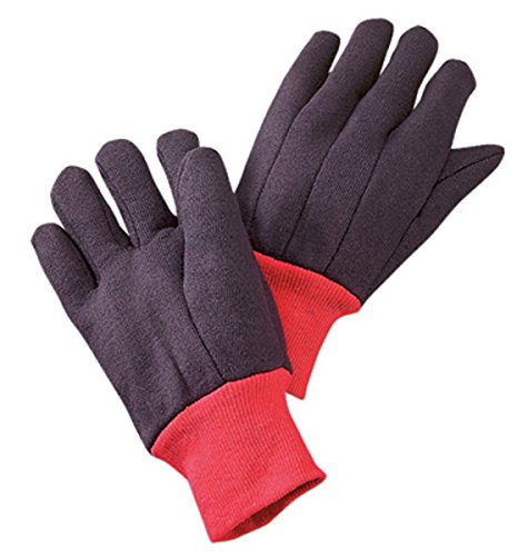 Radnor Large Brown 13 Ounce 100% Cotton Jersey Gloves, Red Knitwrist, Red 100% Cotton Fleece Lining (25 Pair)