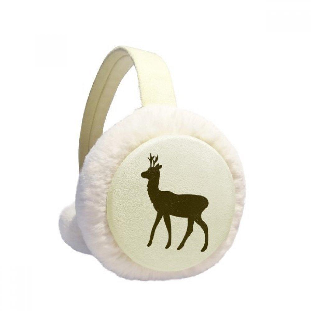 Black Roe Deer Animal Portrayal Winter Earmuffs Ear Warmers Faux Fur Foldable Plush Outdoor Gift