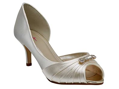 d39b0652292 Cassie by Rainbow Club Ivory Satin   Silver Fine Shimmer Dyeable Wedding or  Occasion Shoes (