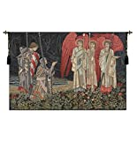 Tapestry, Extra Large, Wide - Elegant, Fine, French & Wall Hanging - The Holy Grail II (The Vision) - With Border, D-H57xW73