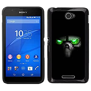 // PHONE CASE GIFT // Duro Estuche protector PC Cáscara Plástico Carcasa Funda Hard Protective Case for Sony Xperia E4 / Green Eyes Skull /
