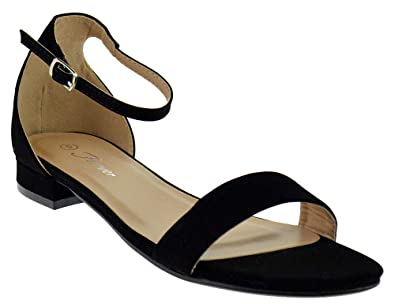 0675db1b5b1 Forever Encircle 01 Womens Ankle Buckle Open Toe Heeled Sandals Black 6